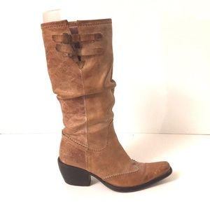 Bronx Cowgirl leather boots camel distressed rodeo